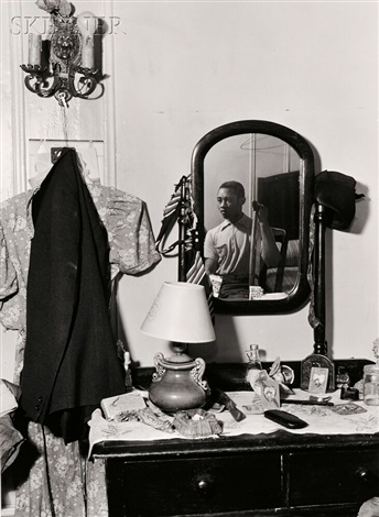 bedroom through doorway man in chair man in mirror and man with crutch 4 works by aaron siskind