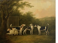 a pair of hounds and a pair of bitches in a landscape with a castle beyond by john nost sartorius