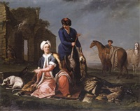 portrait of henry lannoy hunter in oriental dress, resting from hunting, with a manservant holding game by andrea soldi