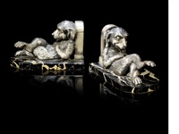 comical lounging dog bookends (pair) by benjamin rabier