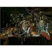 grapes, pears, quinces, peaches, prawns, oysters and a pastry on pewter plates, a lobster on a plate, an upturned silver tazza, a roemer, a silver gilt cup and jug, all on a draped table by wouter mertens