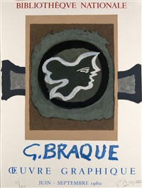 affiche bibliotheque nationale. profil grec by georges braque