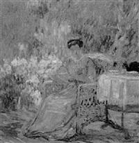 woman having tea by daniel putnam brinley