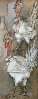 two white turkeys by paul rebeyrolle