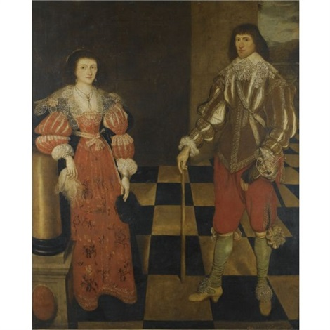 portrait of a gentlemen and his wife called henry carey 2nd earl of monmouth and his wife by gilbert jackson