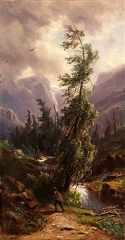 im anlaufthale, im hintergrund der ankogel, 1870 by giovanni (johann) varone