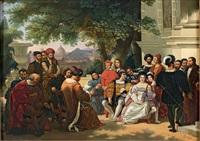 eléonore de tolède et ses enfants recevant des émissaires ottomans dans les jardins de boboli by pio ricci