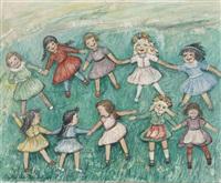 kleine mädchen beim reigentanz auf einer blumenwiese by elisabeth koelle-karmann