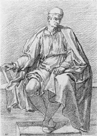 a seated man, looking down to the right by fabrizio boschi