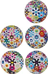 flowerball cosmos (3d); flowerball brown; flower ball (3-d) kindergarten; flower ball (3-d) sequoia sempervirens; and flowerball blood (3-d) v (5 works) by takashi murakami