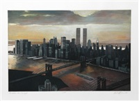 manhattan view, twilight by richard haas