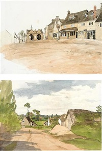 a view of cottages at chipping campden (+ 10 others, various media, sizes; 11 works, 5 mounted together) by edward thompson davis