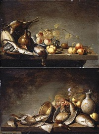 still lifes with fruit, fish and dead game arranged on table-tops (pair) by harmen van steenwyck