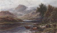 highland cattle watering in a mountainous landscape by a. lewis