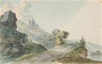 landschaft mit steil aufragenden felsen und ausblick in ein flusstal by johann jakob dorner the younger
