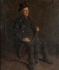 sitzender alter mann in tracht mit zylinder by oskar hagemann
