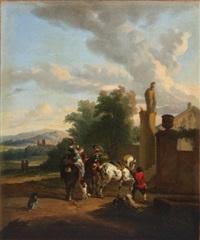 étalon piaffant devant un palais by carel van falens