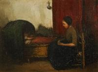 mère veillant sur son enfant by jacobs (jakob) smits