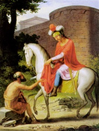 der heilige martin, dem bettler seinen mantel reichend by josef arnold the elder
