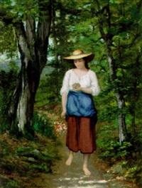 kvinna på skogs promenade by charles camarroque