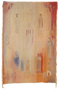 wandteppich mit engeln und heiligen by eva anttila