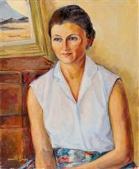 portrait de femme au chemisier blanc by camille leroy