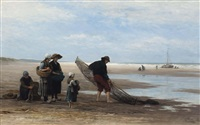 shrimpers on the beach at low tide, scheveningen by philip lodewijk jacob frederik sadée