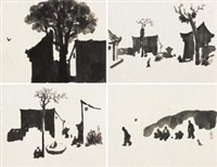 一个村庄的记忆系列 (memory of a village) (4 works) by li xiaochao