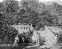 figures in period costumes by the terrace at haddon hall by george haydock dodgson