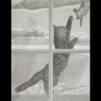 cat playing with birds at a window (diptych) by jeremy smith