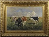 vaches dans les prés by alfred jacques verwee