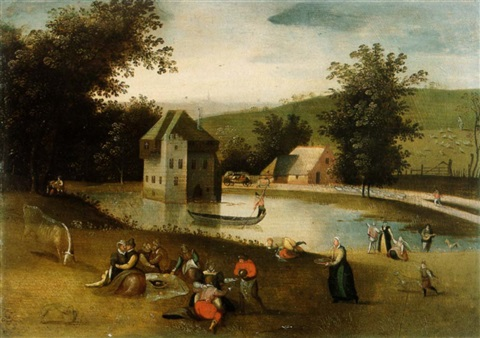 A LANDSCAPE WITH GENTLEFOLK FEASTING A MOATED CASTLE IN THE