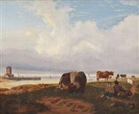 kühe an der küste by friedrich karl joseph simmler