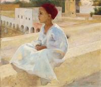 jeune garçon sur la terrasse by paul alexandre alfred leroy