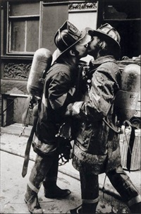 firemen kissing by jill freedman