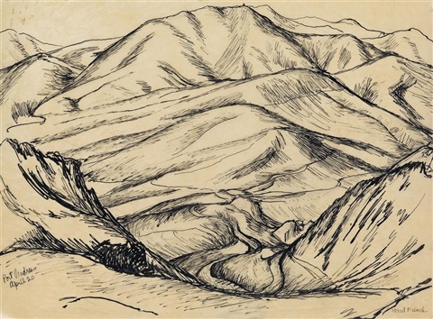 Two Pen And Ink Landscape Drawings Of Spain By Jared French On Artnet