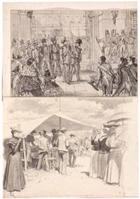 die ankunft des königs wilhelm v. preußen im schloß zu dresden (+ 3 others; 4 works, various sizes) by felicien de myrbach-rheinfeld