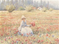 gathering flowers in a meadow by janus halapy