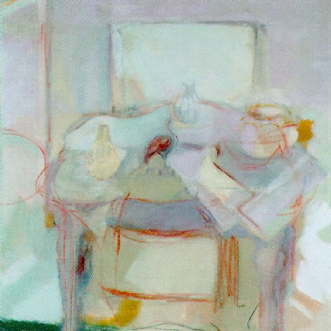 still life in greys pots on the table by rose hilton