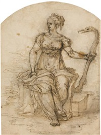 an allegorical female figure, possibly vigilance by ottavio semino