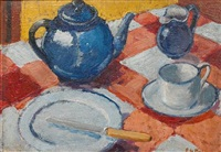 still life with blue teapot by edward le bas