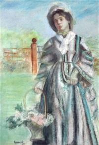figura con cesto di fiori by edward cucuel