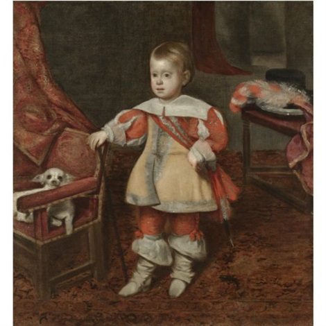 portrait of principe don felipe próspero son of philip iv of spain standing in an interior his right hand resting on the back of a chair on which sits a pet dog by juan bautista martinez del mazo