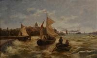marine départ en barque, le vent dans les voiles by theodor alexander weber