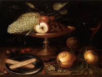 stilleben mit prunkschale und früchten by jacob oost the elder