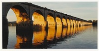 morning light on railroad viaduct, harrisburg, pa. (from susquehanna series) by john pfahl