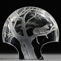 leopard in the moonlight sculpture by steuben glass