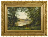 landscape of the twin bridges on the schuylkill river by edmund darch lewis