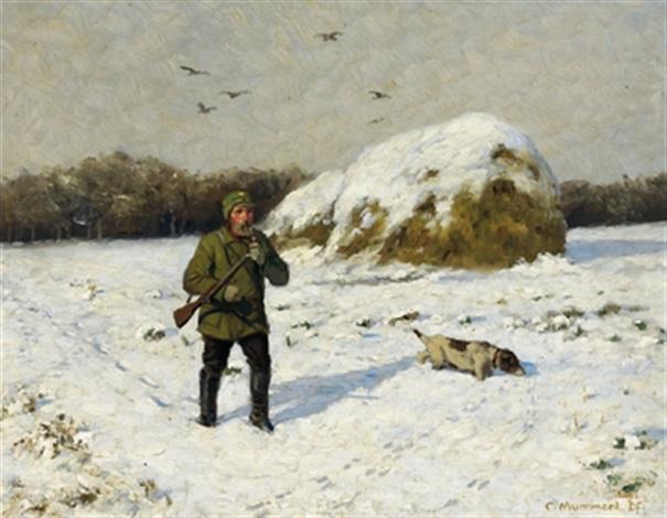 jäger in winterlicher landschaft by karl mummert