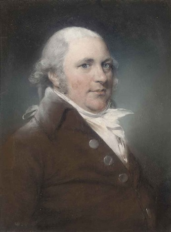 portrait of a gentleman in a brown coat portrait of a lady in a white dress with blue ribbons pair by john russell